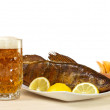 Beer and walleye hot smoking — Stock Photo