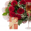 Champagne, gift, roses - Stock Photo