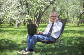 Businessman uses the Internet and running in the spring garden — Stock fotografie