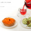 Desserts with fruit and red tea — Stock Photo