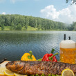Stock Photo: Smoked fish with beer
