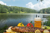 Smoked fish with beer — Stock Photo