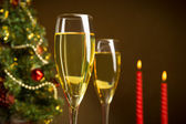Christmas tree, Champagne, and candle — Stock Photo