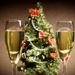 Stock Photo: Christmas tree, champagne and candles