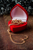 Gold chain in box — Stock Photo
