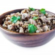 Buckwheat with mushrooms and parsley — Stock Photo