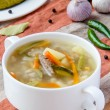 Royalty-Free Stock Photo: Meat soup with pickled cucumbers and  pearl barley