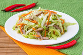 Crispy salad with pork, korean carrots and lettuce — Stock Photo