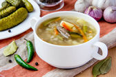 Meat soup with pickled cucumbers and pearl barley — Stock Photo