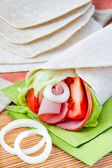Fresh tortilla with vegetables and ham — Stock Photo