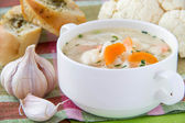 Vegetable soup with cauliflower and carrots — Stock Photo
