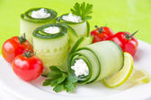 Cucumber rolls with cheese — Stock Photo