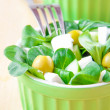 Stock Photo: Green greek salad with olive, corn and feta