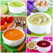 Collage aus Cremesuppe — Stockfoto