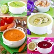 Collage of cream soup - Stock Photo