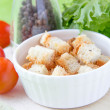 Stock Photo: Crouton in white ceramic cup