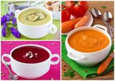 Collage of cream soup — Stock Photo
