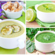 Collage with a green healthy cream soups — Εικόνα Αρχείου #22964492
