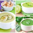 Collage with a green healthy cream soups — Stockfoto