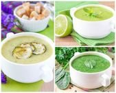 Collage with a green healthy cream soups — Stock Photo