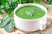 Velvety cream soup of spinach — Stock Photo