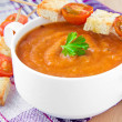 Vegetable cream soup with tomato and toast — Stock Photo