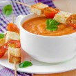 Stock Photo: Vegetable cream soup with tomato, basil and toast
