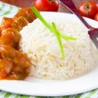 Chinese dish - sour-sweet pork with white rice — Stock Photo