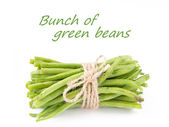 A bunch of fresh leguminous green beans on white background - gr — Stock Photo