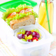 Bento lunch for your child in school, box with a healthy sandwic — Stock Photo