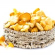 Stock Photo: Fresh, raw chanterelles mushrooms in basket, great harvest
