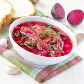 Traditional Russian borsch soup with beef, and beet — Stock Photo