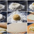 Collage of cooking homemade pasta tagliatelle — Stock Photo #33947985