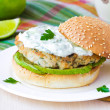 Fresh, delicious chicken burger in the Greek style with zucchini — Stock Photo