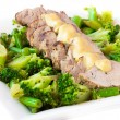 Baked, sliced fillet of pork with green vegetables, broccoli and — Stock Photo