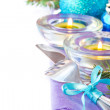 Christmas table decoration, cutlery, candles, purple napkin — Stock Photo