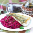 Fried fish fillet of perch with mashed beet and potato — Stock Photo #33949591