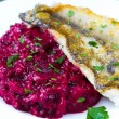 Fried fish fillet of perch with mashed beet and potato — Stock Photo #33949601