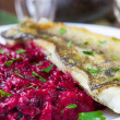 Fried fish fillet of perch with mashed beet and potato — Stock Photo #33949629