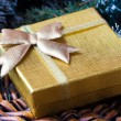 Gift in gold box under tree for Christmas — Zdjęcie stockowe