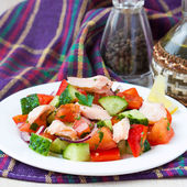Fresh salmon salad with cucumbers, tomatoes, capsicum and onion — Stock Photo