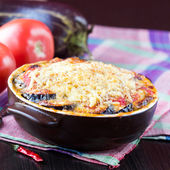 Tasty Italian dish, appetizer with eggplant, cheese and tomato s — Stock Photo