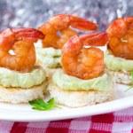 Shrimp on toast with guacamole sauce avocado, Christmas tasty ap — Stock Photo #39682727