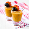 Vegetable soup in small glasses with olives, starter, appetizer — Stock Photo #39682979