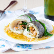������, ������: ��� Fish rolls of dorado fillet stuffed shrimp and spinach with onio