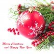 New year's red ball, toy for Christmas tree ornaments, backgroun — Stock Photo