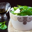 Green salad with spinach, white fish and avocado, dietary food — Stock Photo