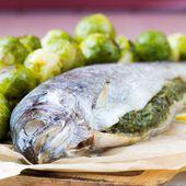 Twee vis, regenboog forel gevuld met groene kruidensaus, Brussel — Stockfoto