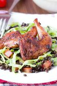 Delicious salad with black lentils, fried legs quail, tomatoes, — Stock Photo