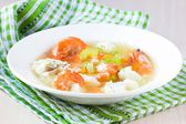 Fish soup with shrimps, white fillet of cod and perch, celery, c — Stock Photo